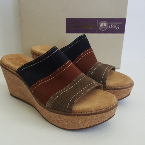 975bbdb189 New Clark's Aisley Lily Leather Navy Combo Wedge. M_5b0c5c42daa8f6282d1f2259